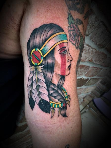Tattoos - Native America Lady head - 134478