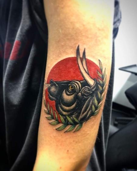 Tattoos - Traiditional bull tattoo - 141331