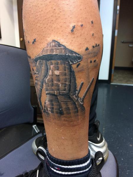 Tattoos - Black and grey Samurai  - 140128