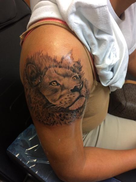 Tattoos - Black and grey lion  - 140123