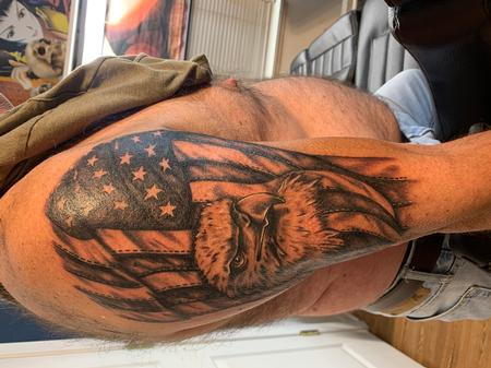 Tattoos - American flag and eagle - 141239