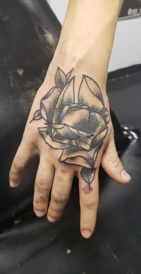 Tattoos - Neotraditional rose hand coverup - 140508