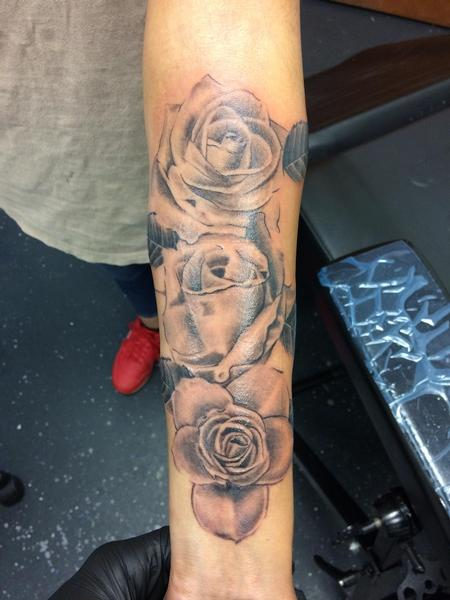 Tattoos - Black and grey roses  - 140129