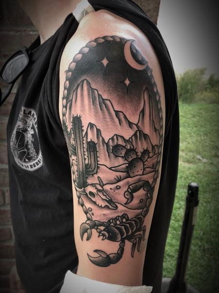 Tattoos - Traditional desert mountain secene - 134488