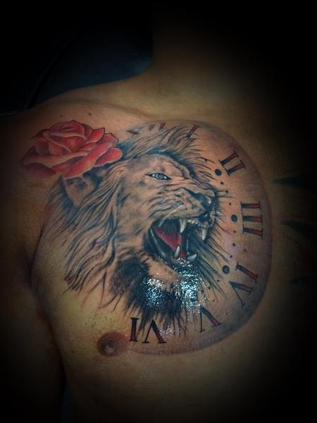 Lion w/ clock and rose Design Thumbnail