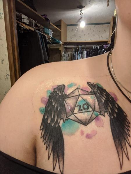 Tattoos - DND watercolor d20 black ravenclaw - 141989