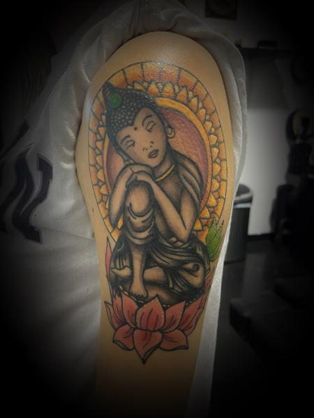 Tattoos - Buddha lotus color mash  - 141992