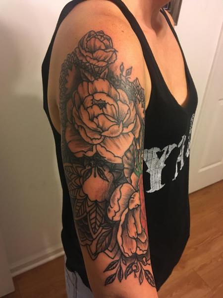 Tattoos - Flower and mandala quarter sleeve - 139966