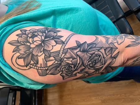 Tattoos - Anchor and peony's - 142092