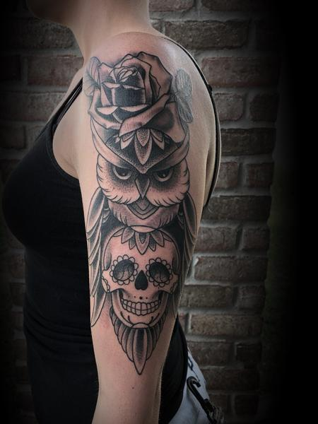 Tattoos - Sugar skull and owl - 134056