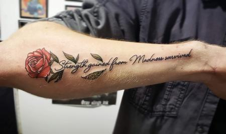 Tattoos - Rose with script tattoo - 141328