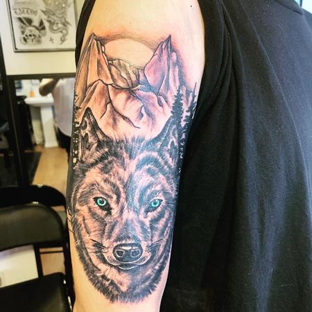 Tattoos - Wolf and mountains - 140611