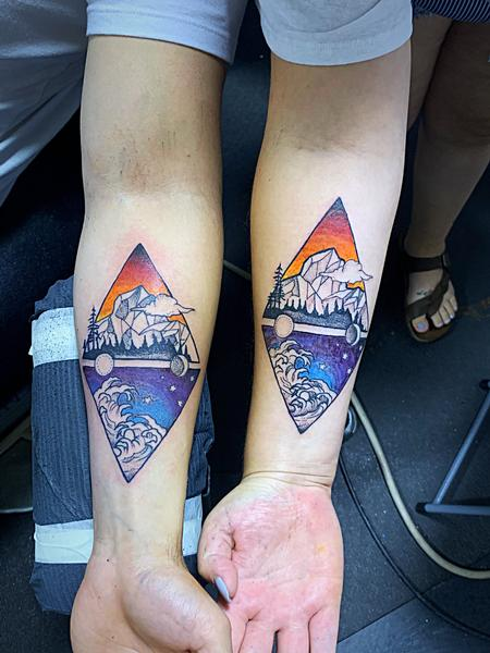 Tattoos -  Waves and mountains  - 139993