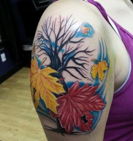 Tattoos - Tree and Leaves, In Progress - 140998