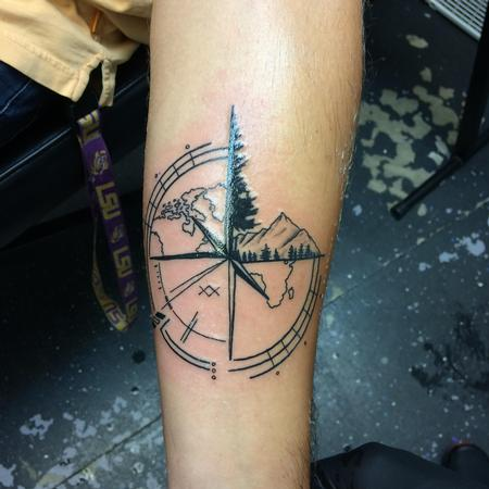 Tattoos - Black work custom compass - 140139
