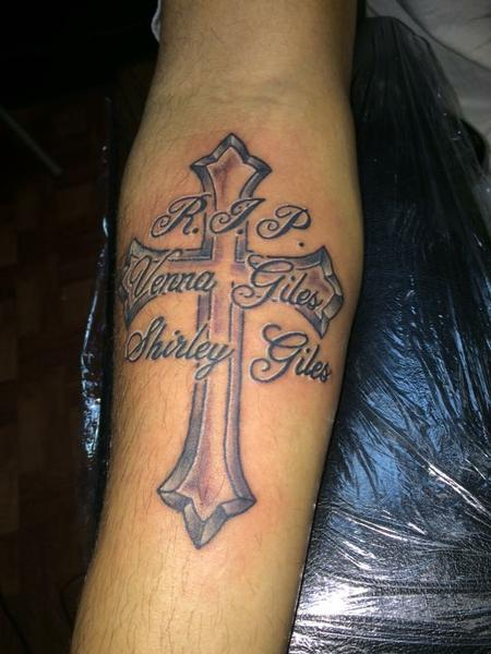 Jon Morrison - cross memorial tattoo