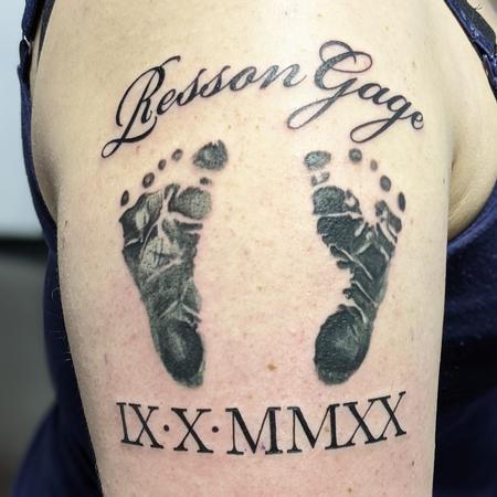 Tattoos - Baby foot print and name - 142611
