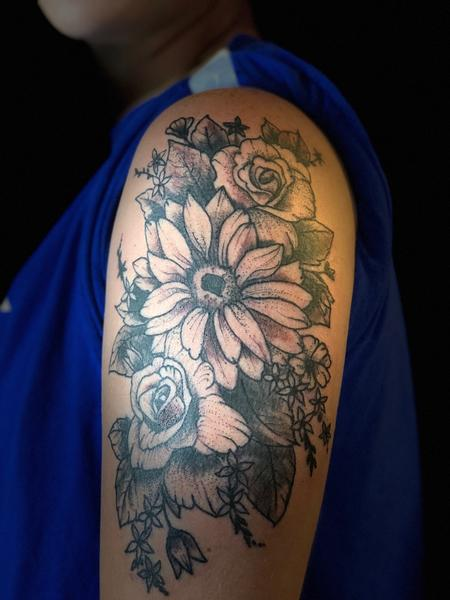 Tattoos - stipple flowers - 134453