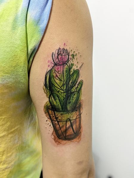 Tattoos - Watercolor cactus - 142610