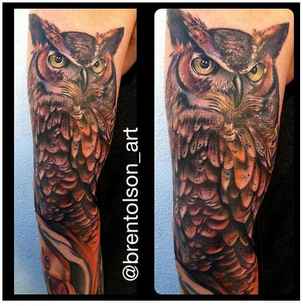 Realistic Color Owl Tattoo Brent Olson Art Junkies Tattoo By Brent Olson Tattoonow