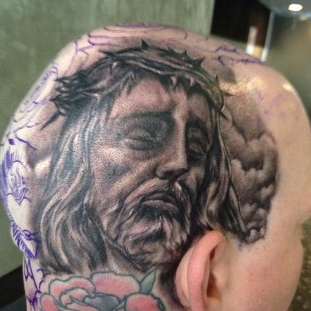 Tattoos - black and gray realistic portrait tattoo of jesus - 65404