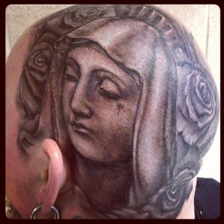Tattoos - black and gray virgin Mary head tattoo - 63680