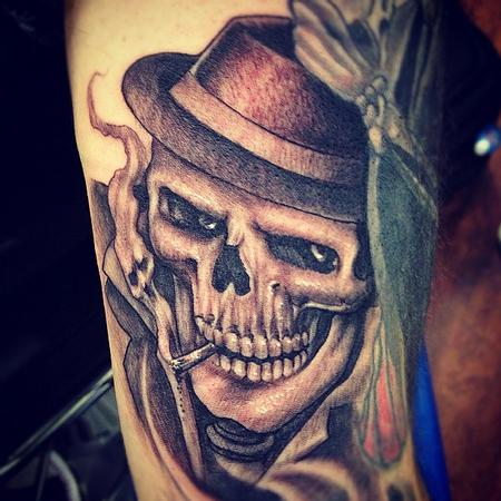 Tattoos - realistic black and gray skull with hat tattoo, Big Gus Art Junkies Tatto - 70810
