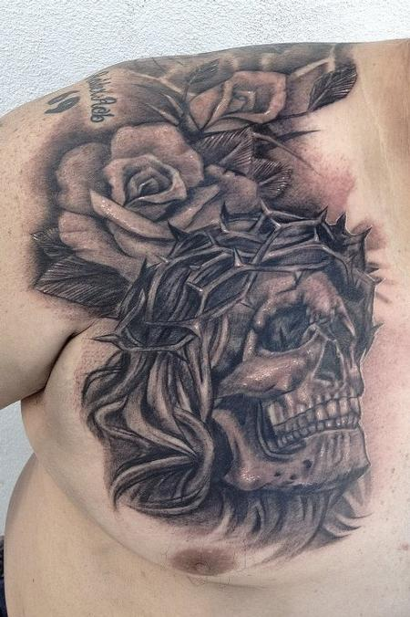 Tattoos - black and gray skull with roses tattoo - 64574