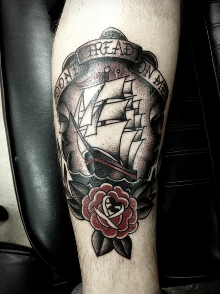 Tattoos - Traditional color ship with rose tattoo, Frichard Adams Art Junkies Tattoo   - 106679