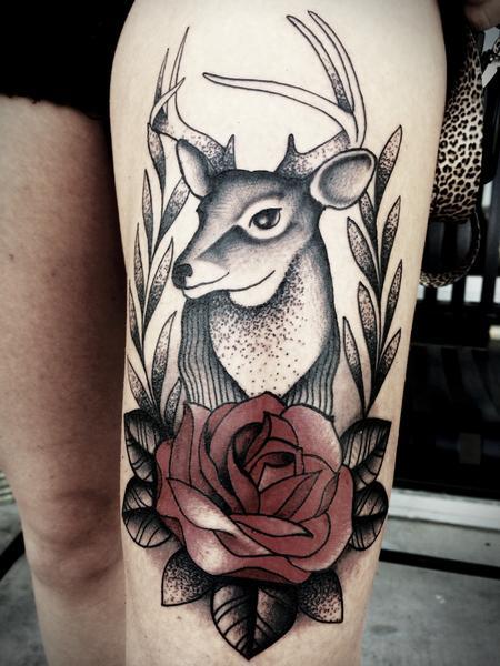 Tattoos - Traditional deer with rose tattoo. Frichard Adams Art Junkies Tattoo - 107975