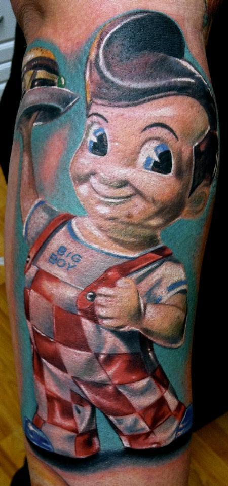 Tattoos - Realistic color Bob's Big Boy tattoo, Brent Olson Art Junkies Tattoo - 91846