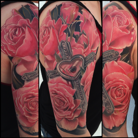 Tattoos - Realistic color roses with cross tattoo, Brent Olson Art Junkies Tattoo - 91959