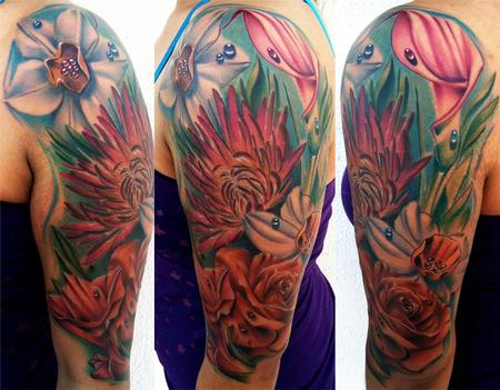 Tattoos - Flower Half Sleeve Brent Olson Art Junkies Tattoo - 66719