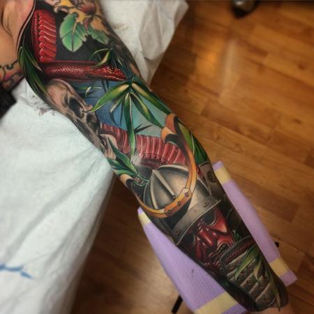 Tattoos - Realistic color Japanese sleeve with samurai, Geisha and snakes tattoo. Brent Olson Art Junkies Tattoo - 102087