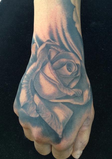 Scott Grosjean - Realistic black and gray rose tattoo, Scott Grosjean Art Junkies Tattoo