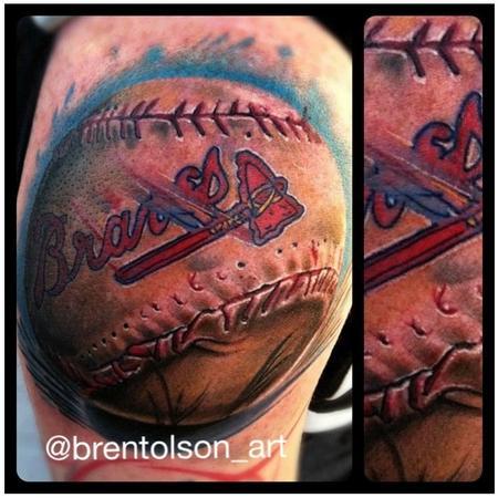 Tattoos - realistic color braves baseball tattoo, Brent Olson Art Junkies Tattoo - 75461