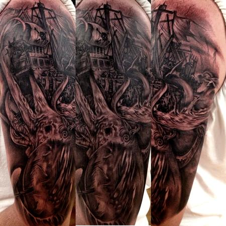 Tattoos - black and grey sea monster tattoo, Big Gus Art Junkies tattoo - 80746