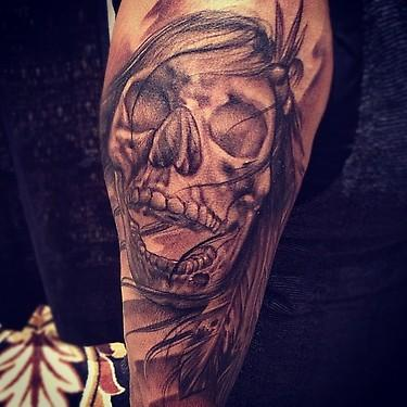 Tattoos - black and gray realistic skull tattoo, Big Gus Art Junkies Tattoos - 70474