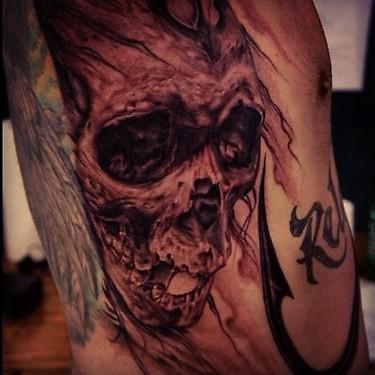 Tattoos - black and grey skull tattoo - 69487