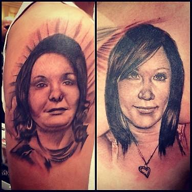 Tattoos - black and gray realistic portrait tattoo, Big Gus Art Junkies Tattoos - 70475