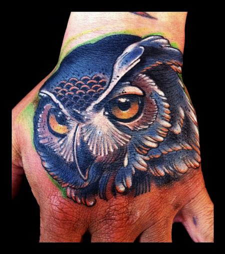 Tattoos - Owl traditional color hand tattoo Brent Olson Art Junkies Tattoo - 62085