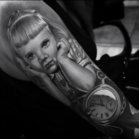 Tattoos - Realistic color portrait of little girl and pocket watch tattoo, Brent Olson Art Junkies Tattoo  - 108572