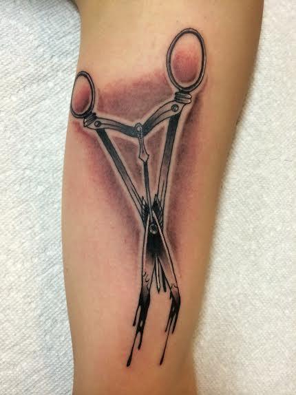 Tattoos - Traditional black and gray surgical scissors tattoo. Richard Adams Art Junkies Tattoo - 108623