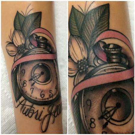 Tattoos - Traditional color pocket watch with banner tattoo. Frichard Adams Art Junkies Tattoo.  - 108828