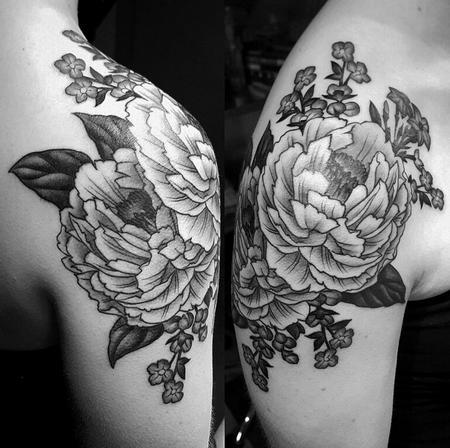Tattoos - Black and grey peony shoulder tattoo - 114912