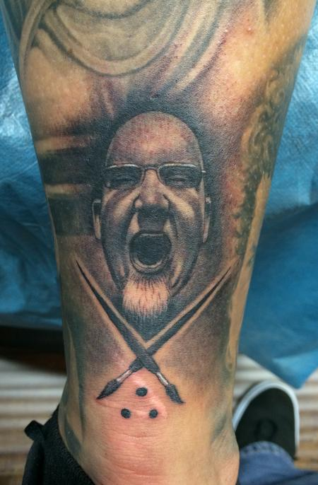 Tattoos - Bob Tyrrell Sullen Badge on leg - 88772