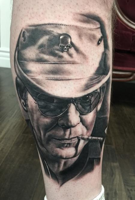 Tattoos - Hunter S Thompson Portrait Tattoo - 137309