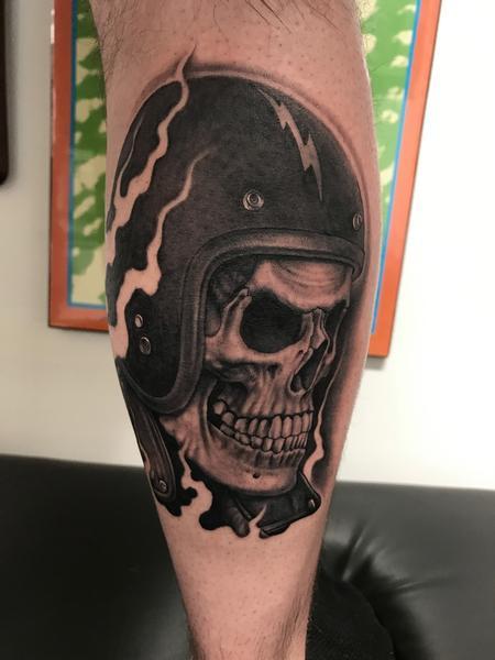 Tattoos - Biker Skull - 128463