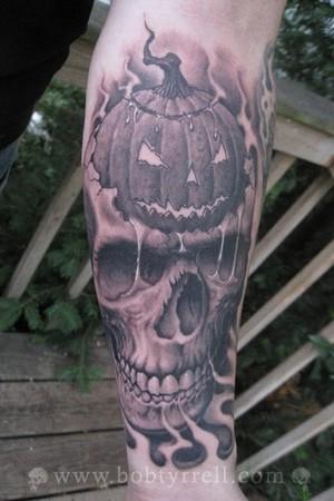 Tattoos - Pumpkin Skull - 34605