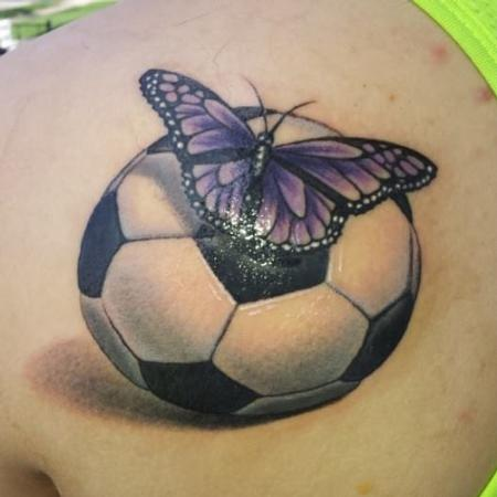 Tattoos - Butterfly On Soccer Ball  - 89926